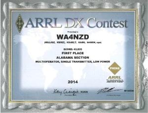 ARRL DX Phone 1st Place Award for Alabama Section, Multioperator, Single Transmitter, Low Power